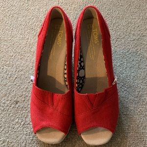 TOMS Classic Red Wedge Heels